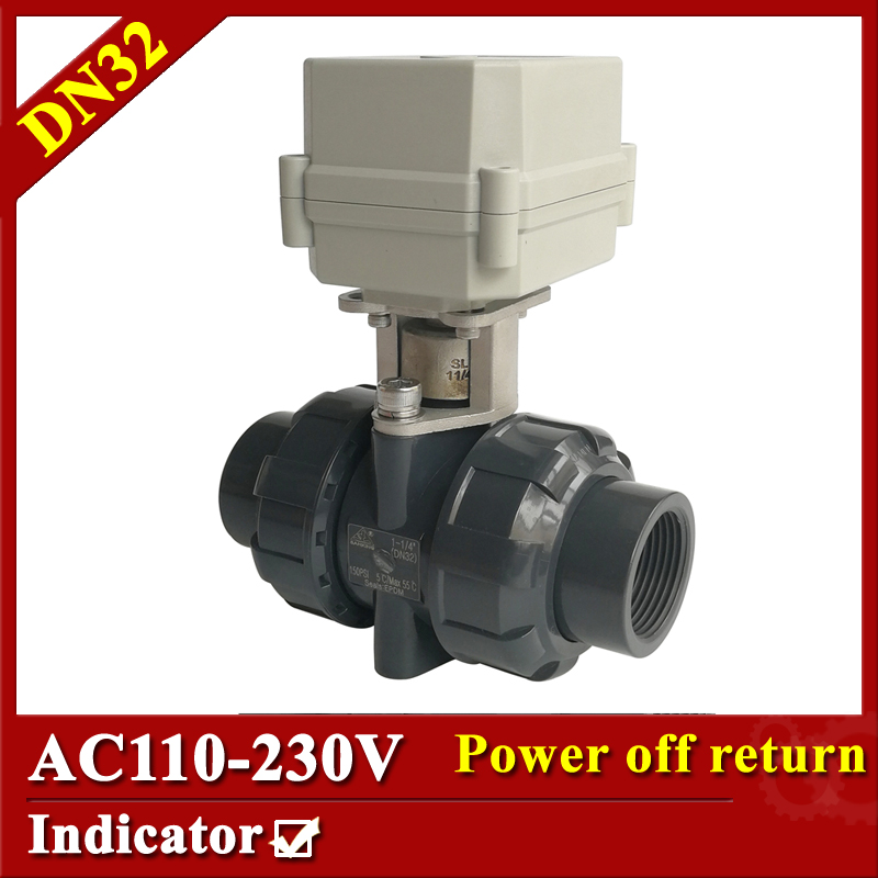 Tsai Fan motorized ball valve 1 1/4 AC110-230V 2/5 wires electric valve DN32 UPVC ball valve normal close/open for HVAC systems ac110 230v 5 wires 2 way stainless steel dn32 normal close electric ball valve with signal feedback bsp npt 11 4 10nm