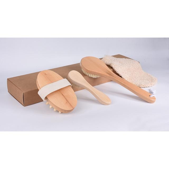 4Pcs/Set Qualified Shower Brush Boar Bristles Soft Bath Brush Exfoliating Body Massager with Long Wooden Handle 4
