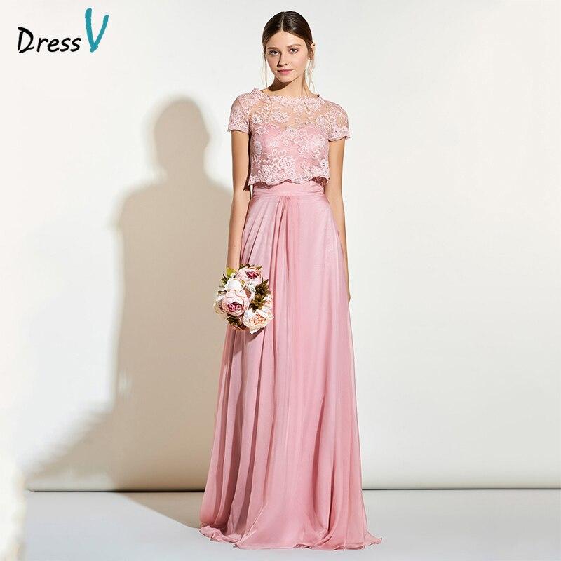 DressV длинное розовое платье подружки невесты Милая Средства ухода за кожей шеи Линия рукавов Кружево складки пользовательские Наряды на сва