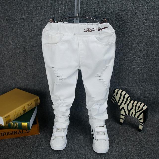 Niños niñas ropa bebé pantalones vaqueros del resorte pantalones de algodón del bebé niño niños pantalones de los niños pantalones harem blanco otoño paño