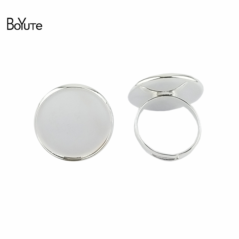 BoYuTe 50Pcs 10MM 12MM 14MM 16MM 18MM 20MM Cabochon Ring Base Setting Adjustable Silver Bronze Diy Jewelry Findings Components
