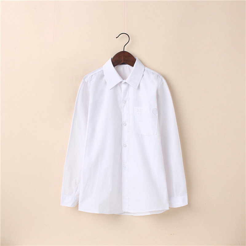 boys Solid white Shirts cotton Blouses for children cute gift 2214 ...