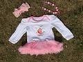 2016 nuevo diseño de vestido de niña de Pascua Pascua mameluco del algodón conejito de Pascua de encaje tutu vestido con el collar a juego y diadema conjunto