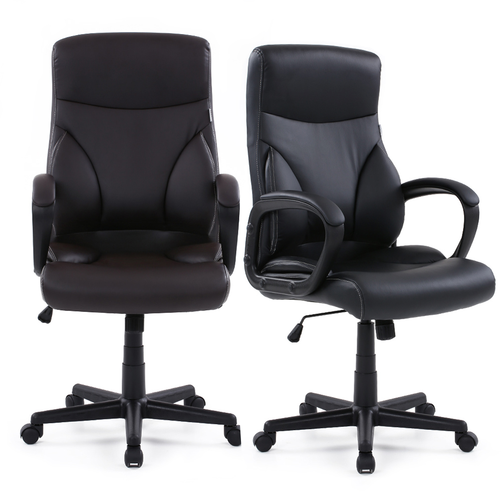 Modern task chairs - Brand Ikayaa Us Stock Faux Leather Swivel Office Chair Stool High Back Computer Task Office Furniture Sgs Intertek Testing