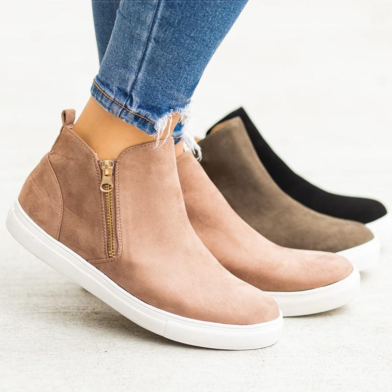Women Shoes Plus Size 43 Vulcanized Shoes Woman Autumn Flats Zipper Sneakers Women 2019 New Casual Chaussures Femme Black