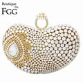 Socialite White Pearl Crystal Women Diamonds Knucklebox Golden Evening Clutch Bag Ladies Wedding Party Handbags Clutches Purses