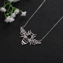 My Shape Fashion Jewelry Stainless Steel Geometric Hollow Bee Flying Wings Animal Pendant Necklace Women