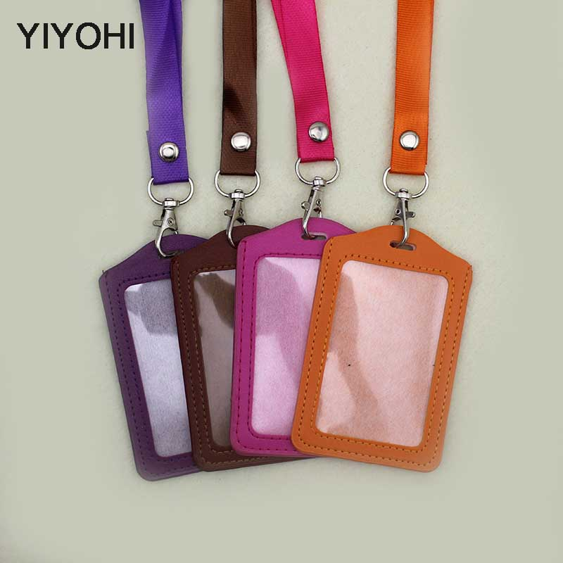 YIYOHI Name Credit Card Holders Women Men PU Bank Card Neck Strap Card Bus ID Holders Candy Colors Identity Badge With Lanyard 2