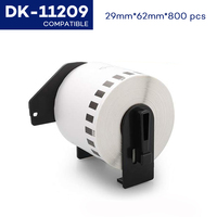 CIDY Compatible for Brother Labels Dk-11209 62mmx29mm 800 labels per roll Thermal Sticker Dk 11209 DK 1209 Dk1209
