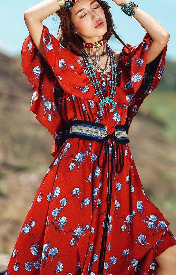 Soie Mousseline Casual Lâche Femmes Cou En National Robe De Longue D'été Imprimé Rouge Manches Slash lin Floral Tendance Courtes Red À Un CwAxpaq6