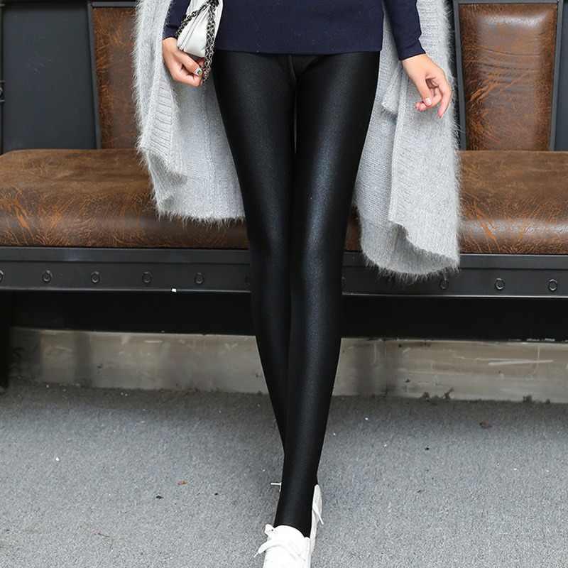 แฟชั่นผู้หญิงเงากางเกงขายาวสไตล์ใหม่บางยาวกางเกงขายาวสีดำยืดสูงเอวซาติน Leggings พื้นฐาน