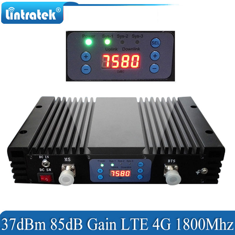 Lintratek 37dBm 85dB Gain 4g LTE Signal Booster DCS 1800 mhz Repeater GSM 4G 1800mhz Cellular