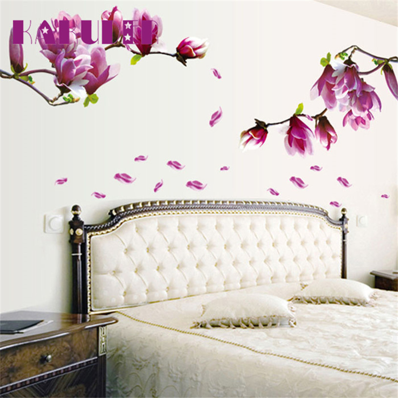 KAKUDER Fresh Magnolia Flower Wall Sticker Home Decor Decal Removable PVC U70410