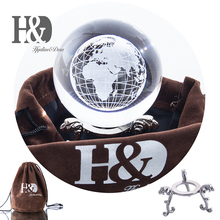 H&D 60mm Healing Ball 3D Laser Engraved Globe Glass Crystal Miniatures Sphere Home Decoration Accessories with Stand
