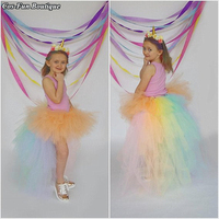 Pastel Rainbow Bustle Tutu Skirt Peach Unicorn Birthday Halloween Costume Little Girl Kids Children Baby Toddler Teen Girl Skirt