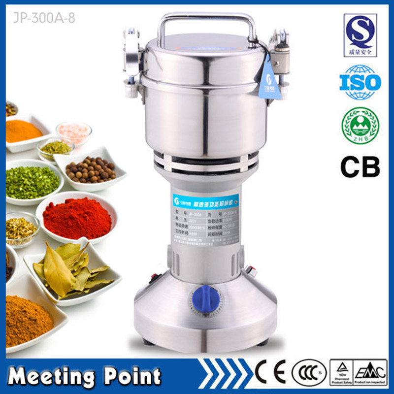 on sale 300g Food-grade stainless steel dry herb grinder mill electric household cereals powder milling machine dry food grinder machine swing type electric grains herbal powder miller high speed spices cereals crusher w ce ccc