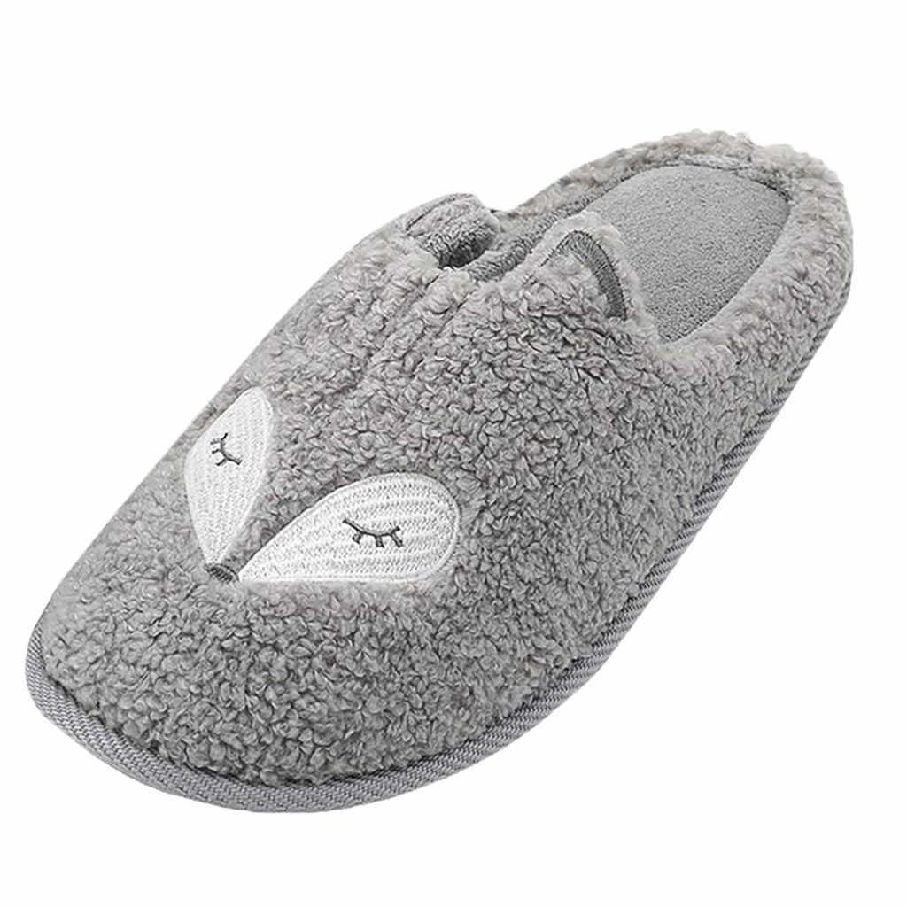 Vrouwen en Mannen leuke animal borduren foam katoen zachte pluche huishoudelijke slippers katoen Thuis Slippers Indoor Outdoor