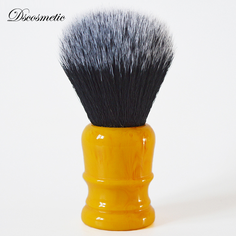 Dscosmetic 26mm Amber Yellow Handle Tuxedo Synthetic Hair Knot Shaving Brush For Man Wet Shave