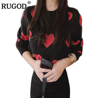 Rugod New Women Sweater and Pullovers 2018 winter sweater women heart pattern print o neck Long Sleeve Knitted jumper