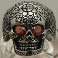 cool men red cz stone eye evil flower carved skull 316L stainless steel ring
