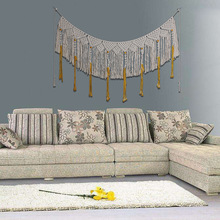 LYN&GY Macrame Wall Hanging Cotton Handmade Woven Wall Tapestry Large Boho Wedding Backdrop Wall Decoration for Living Room cotton fringed handmade woven wall hanging art