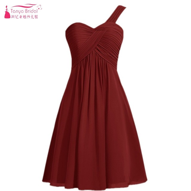 3a314b50d10c Burgundy Short Bridesmaid Dresses 2018 In Stock One Shoulder Bohemian  Summer Knee Length Bridesmaids Gown Cheap