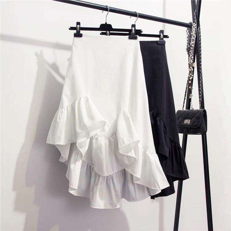 Shintimes 2019 Summer Autumn Vintage Irregular Ruffles High Waist Skirts Womens White Black Korean Style Asymmetrical Skirt