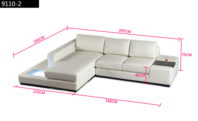 Free Shipping Modern L Shaped Simple White black Cattle leather Corner Sofa with LED light  Set Best furniture living room Set