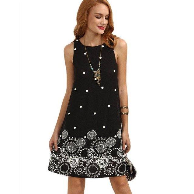 eaa39b11cd26 Kaleidoscope Print Women Black Short Dress Summer Sleeveless Evening Party Chiffon  Dresses elegant Ladies round neck