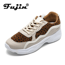 Fujin Women Shoes Lightweight Casual  Dropshipping Old Style Color Matching Leopard Print Small White Autumn