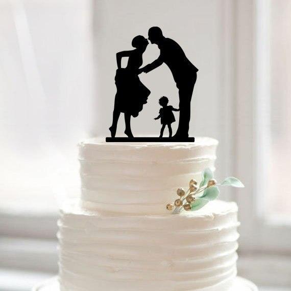 Topper de pastel de bodas Topper de pastel de silueta con niños - Para fiestas y celebraciones