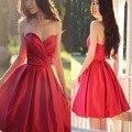 Rojo Corto Satinado Vestidos de Coctel Atractivo Del Amor 2017 Coctail Party robe de Cocktail Party Prom Barato Vestido De Coctel