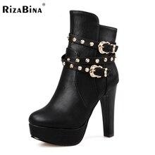 size 32-43 women round toe high heel half short boot mid calf winter warm platform boot sexy fashion footwear heels shoes P21991