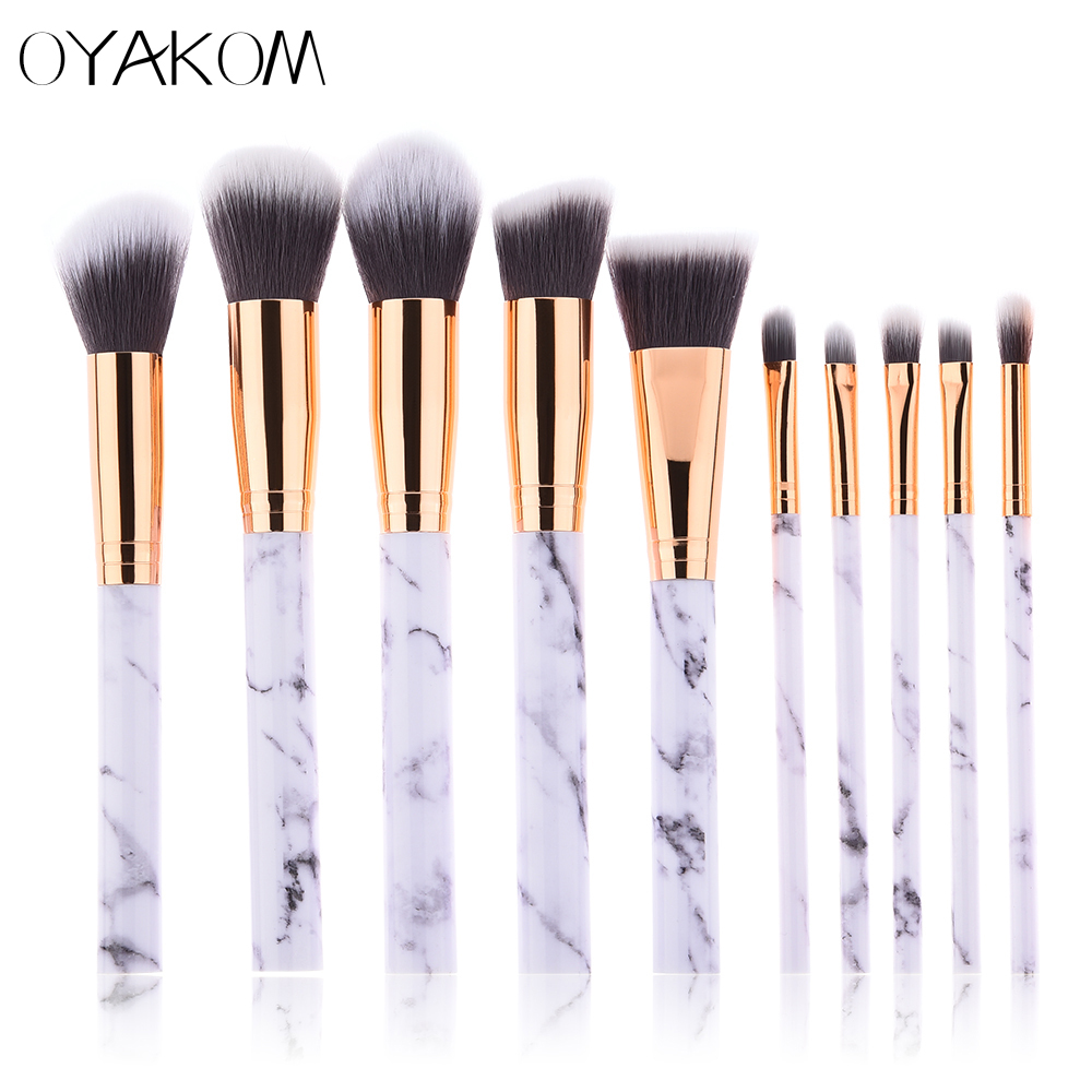 OYAKOM 10pcs Pro Marble Makeup Brushes Eyeshadow Foundation Powder Blush Eye shadow Lip Cosmetic Beauty Make Up Brush Set makeup cosmetic soft foundation powder brush beauty marble make up tools brushes set 10pcs