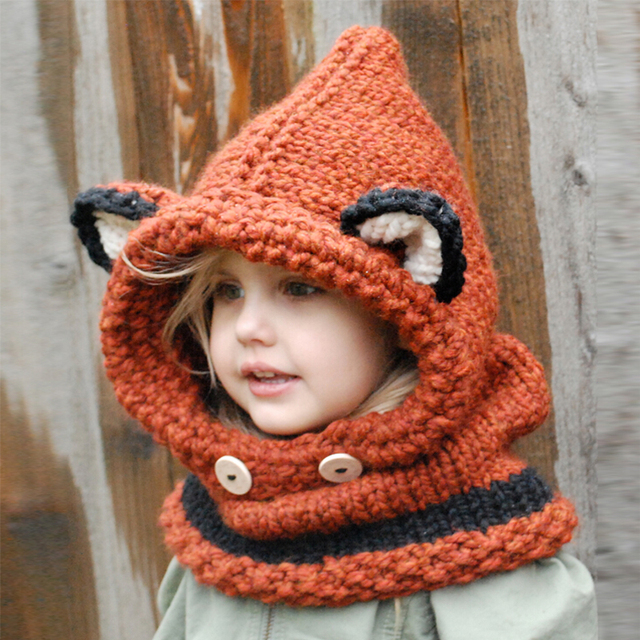 cd02fef946d Fashion Warm Fox Hat With Neck Infant Winter Hat Winter Crochet Children s Knitted  Hat Helm Cute Collar Warmer Wrap Kids Hats