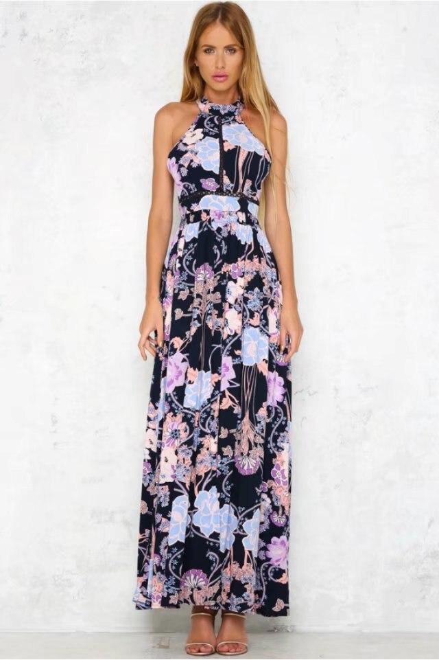 Vintage Robe Noir New Longue Dos Sans Maxi Printemps 2018 Impression Élégant Nu Femmes Style Slim Halter Robes Boho De Manches YwgqgtH