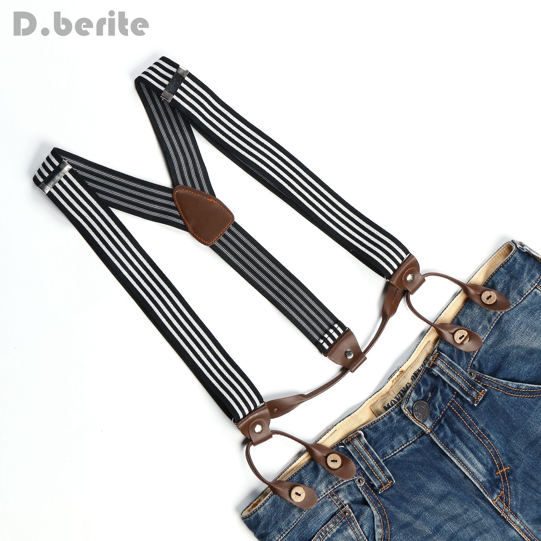 New Mens Adjustable Button Adult Belt Unisex Suspenders Black White Stripe Womens Braces BD760