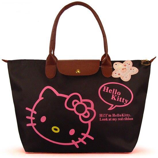 Waterproof Women Shopping Bags Hello Kitty Bag / Portable Folding Women Handbag Shopping Bag Large Size (51*30.5*15cm)