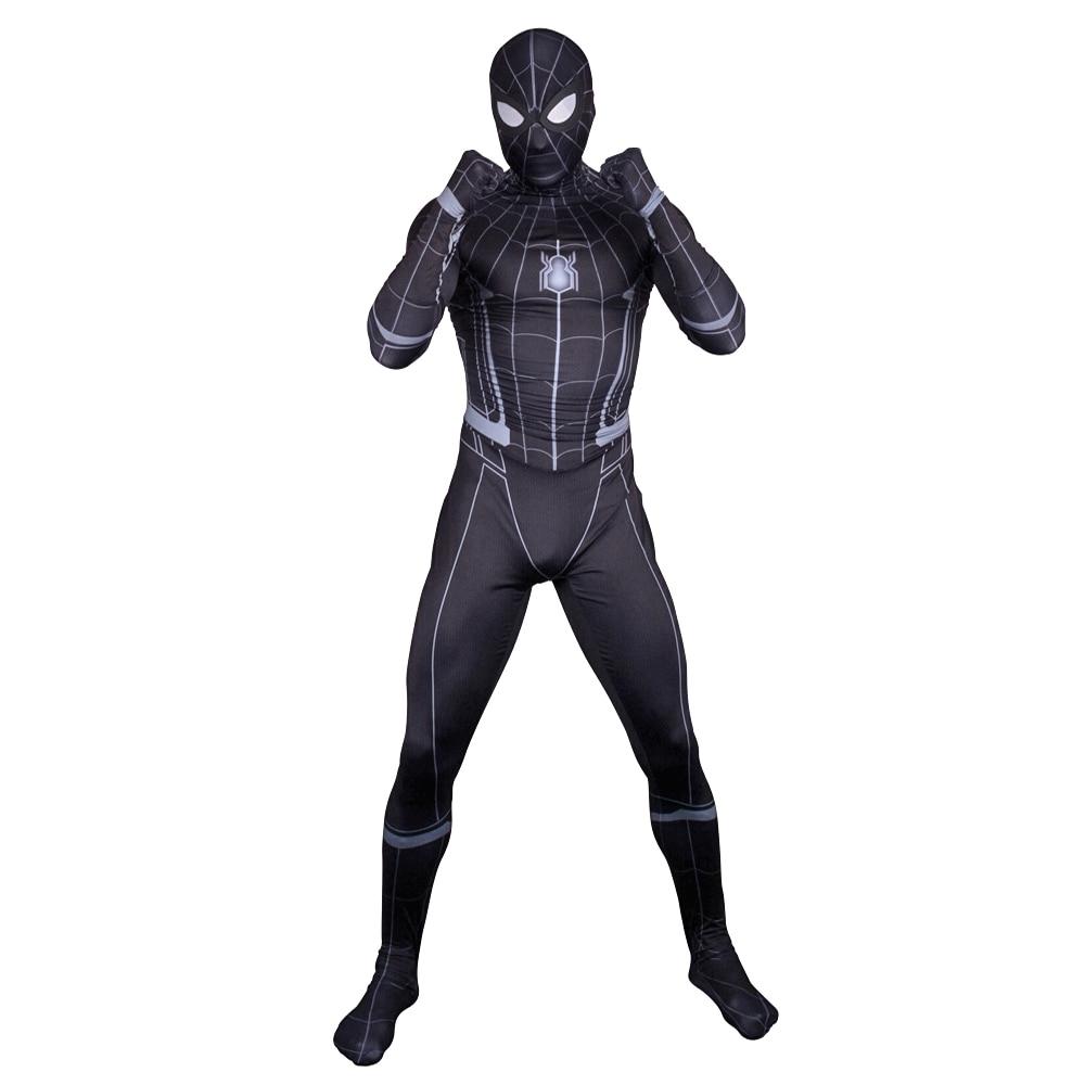 Spider-Man Homecoming Evil Cool <font><b>Black</b></font> Version <font><b>Spiderman</b></font> Costume for <font><b>Adult</b></font> Lycra 3D Printing Zentai Suit Superhero Costumes