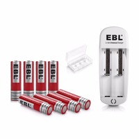 8x EBL 3.7v 18650 Battery + Battery Charger For 18650 14500 16340 10440 18500 Li ion Rechargeable Batteries
