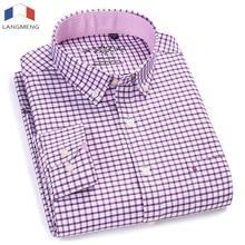 LANGMENG Oxford Men Shirt Mens Business Plaid Casual Shirts 2018 New Arrival Fashion Brand Clothing Long Sleeve Camisa Masculina