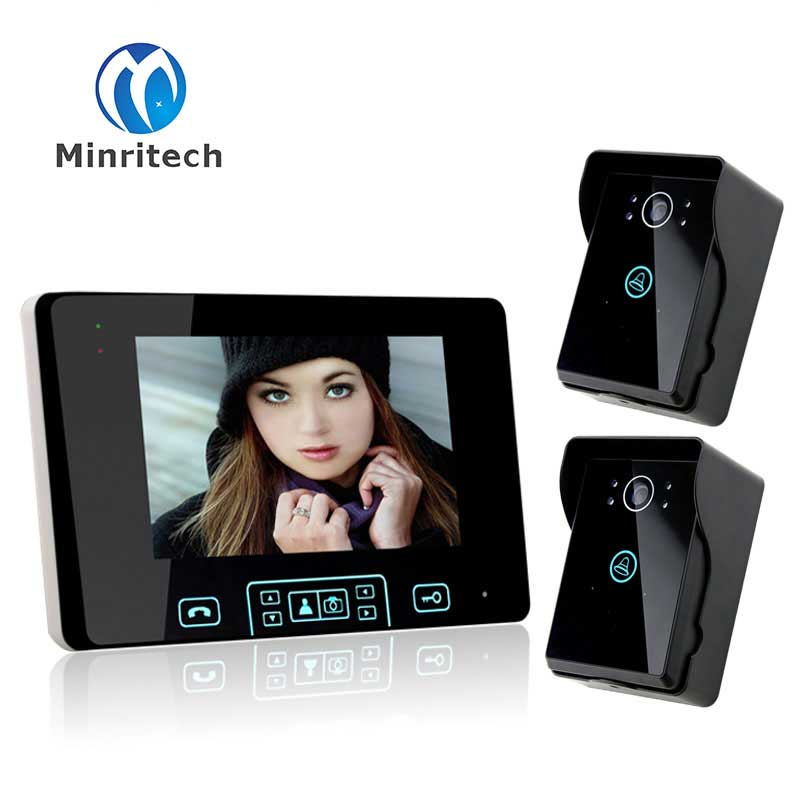 New 7 TFT LCD WiFi Wireless Visual Intercom Doorbell Night Vision Video Recordable Visual 1 Monitor+ 2 Touch Camera Doorbell