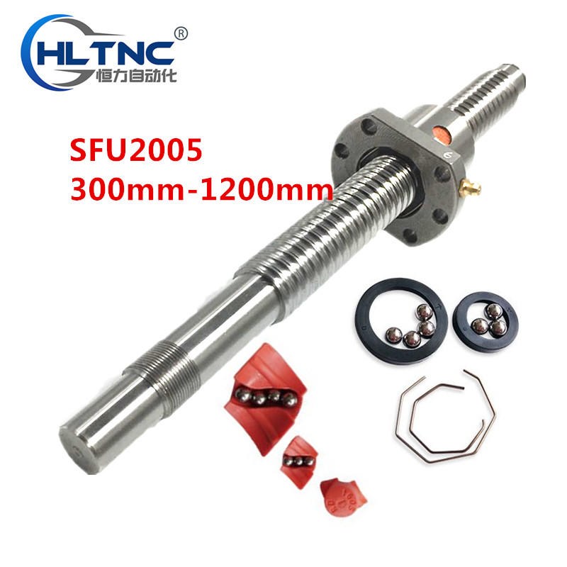 free shipping Ballscrew 2005 Set 20MM Ball screw SFU2005 End Machined RM2005 Ball Nut nut flange