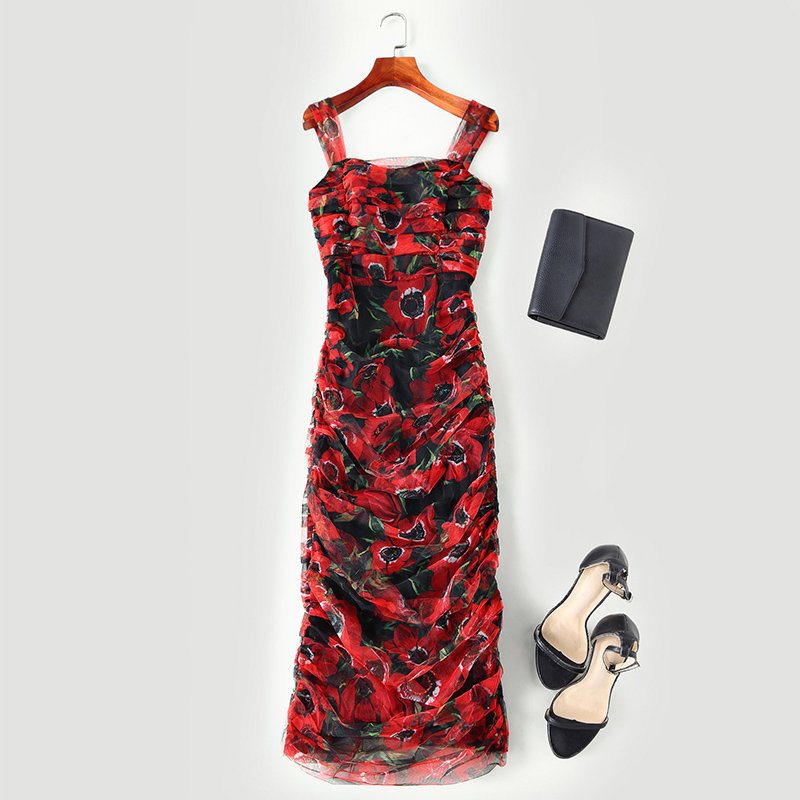 HIGH QUALITY New Fashion 2019 Runway Dress Women s Spaghetti Strap Fold Floral Slim Gauze Dress