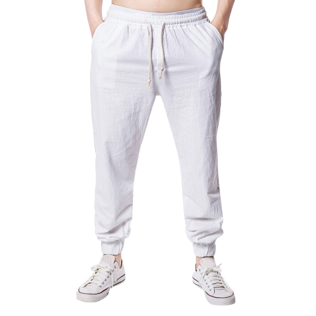 Summer Pants Joggers Men Linen Large-Size Casual Wide Hombre Solid-Color