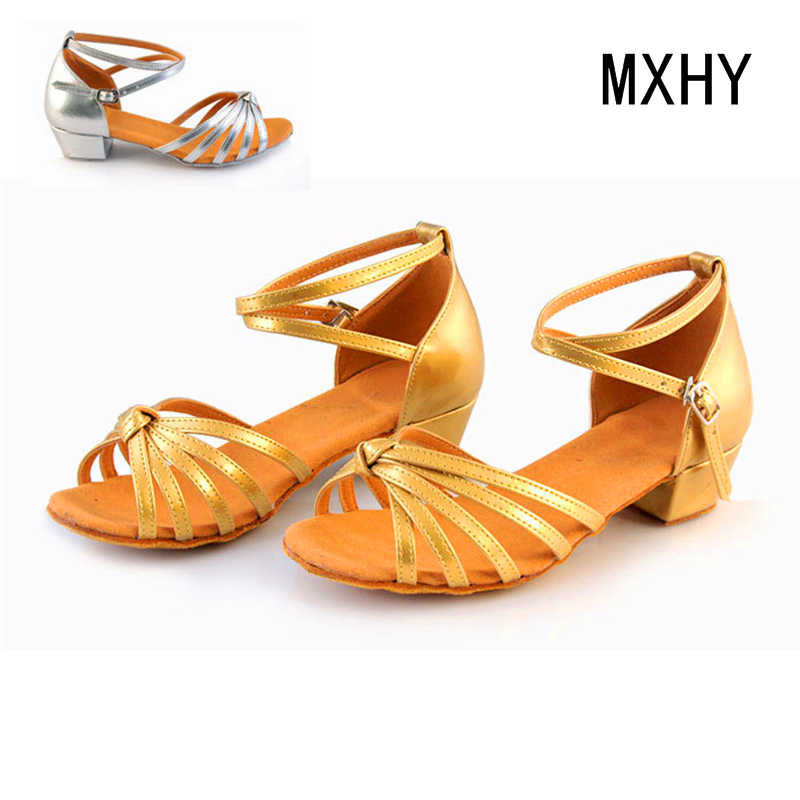 bf0adfda16c MXHY children shoes Latin shoes Korean princess high heels big girls child  sequined sandals girls shoes