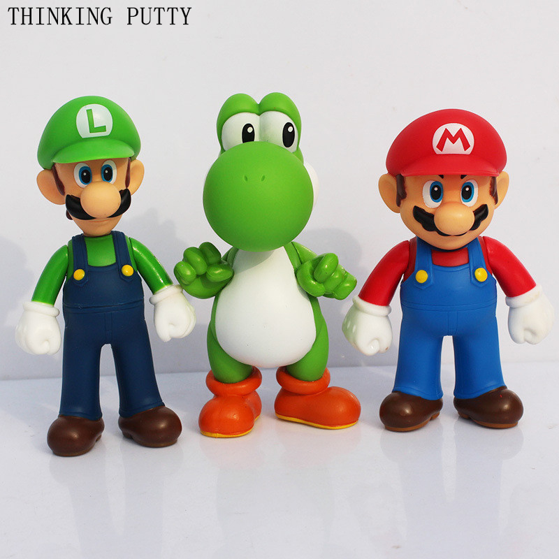 12 cm Super Mario Bros Yoshi Luigi Mario PVC Action Figures Toys Collection Model  Funny Anime Figurines Toy For Children Kids super mario bros plush green shell backpack bag purse cosplay super funny and cool rare