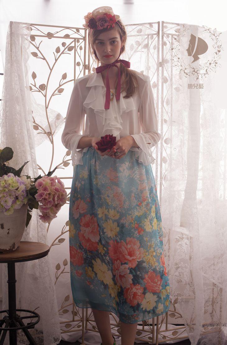 Originale En Vintage S Blue Imprimé Water Sz Conception Floral M Jupe Femmes Soie L Rustique D'été Taille Chinoiserie Élastique Des Lynette's L'eau Bleue qBtwvgFYU