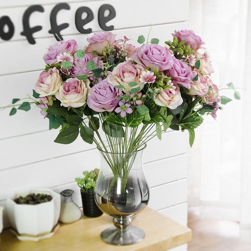 JAROWN Штучний шовк Французька Троянда Квітковий Букет Підроблені Квітка Впорядкувати Стіл Дейзі Весільний Декор Партія аксесуар Флорес