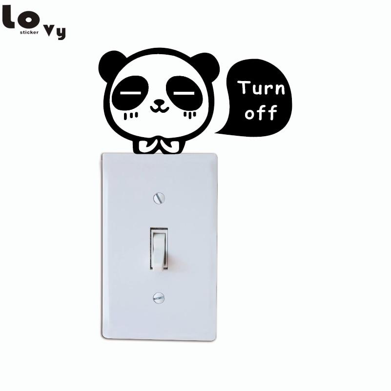 ୧ʕ ʔ୨Lindo Panda luz interruptor Etiqueta de dibujos animados ...